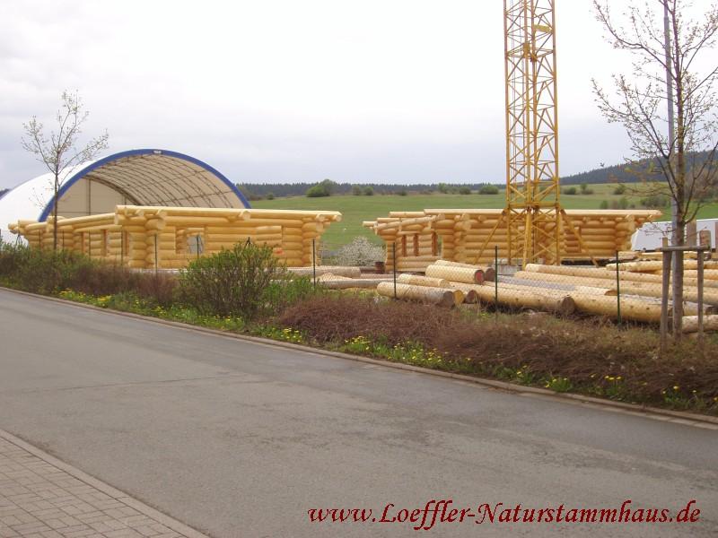 Löffler Naturstammhaus Bauphase