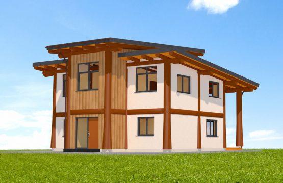 Naturstammhaus Fichtelberg Vorderseite