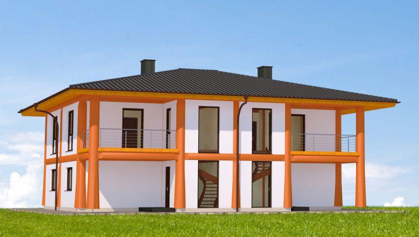 Naturstammhaus Venezianerstein Vorderseite